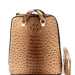 L0186W Ostrich Embossed Convertible Backpack Wallet SET Taupe