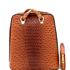 L0186W Ostrich Embossed Convertible Backpack Wallet SET Brown