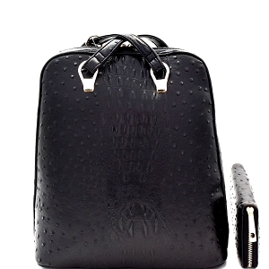 L0186W Ostrich Embossed Convertible Backpack Wallet SET Black