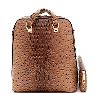 L0186W Ostrich Embossed Convertible Backpack Wallet SET Tan