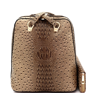 L0186W Ostrich Embossed Convertible Backpack Wallet SET Stone