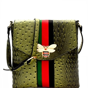 L0192 Rhinestone Bee Charm Color Block Striped Ostrich Cross Body Olive