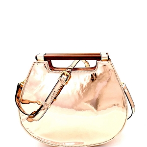 L0199 Wooden Handle Accent Metallic 2-Way Satchel Rose-Gold