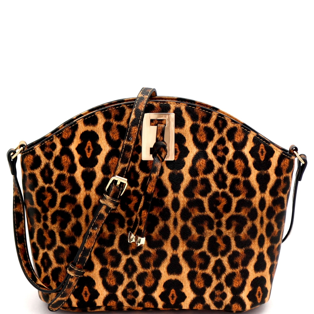 L0237 Hardware and Knot Accent Cross Body Shoulder Bag Leopard