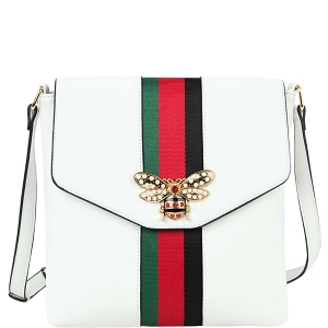 LSF0275 Rhinestone Bee Charm Color Block Striped Cross Body White