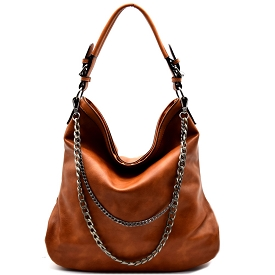 MC0009 Double-layered Chain Accent Hobo Brown