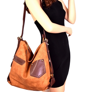 MC0015 Multi Pocket Jean Inspired Convertible Hobo Backpack Brown