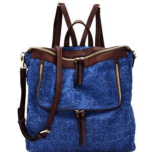 MC0021 Tweed Two-Tone Convertible Fashion Backpack Blue