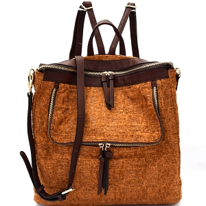 MC0021 Tweed Two-Tone Convertible Fashion Backpack Cognac