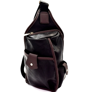 MC0044 Unisex Multi-Pocket Organizer Cross Body Sling Bag Black