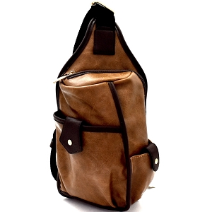 MC0044 Unisex Multi-Pocket Organizer Cross Body Sling Bag Stone