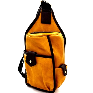 MC0044 Unisex Multi-Pocket Organizer Cross Body Sling Bag Mustard