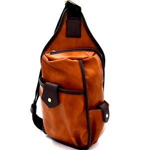 MC0044 Unisex Multi-Pocket Organizer Cross Body Sling Bag Brown
