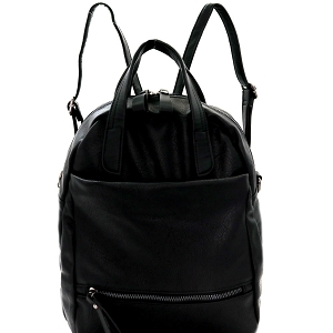 MC0049 Striped Strap Multi Pocket 2-Way Backpack Satchel Black