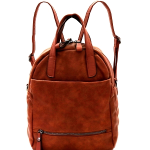 MC0049 Striped Strap Multi Pocket 2-Way Backpack Satchel Brown