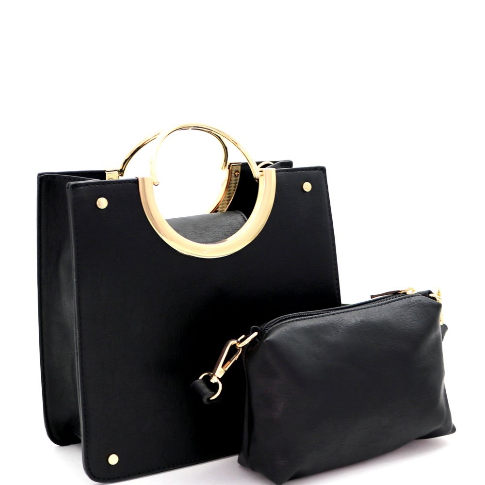 MC0077 Metal Round Handle Accent 2 in 1 Structured Satchel Black
