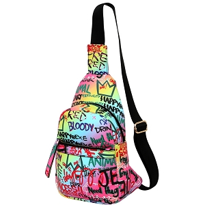 MCSF0083 Graffiti Effect Multi-Pocket Organizer Cross Body Sling Bag Multi-2 (Pink multi)