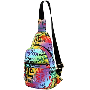 MCSF0083 Graffiti Effect Multi-Pocket Organizer Cross Body Sling Bag Multi-3 (Purple multi)