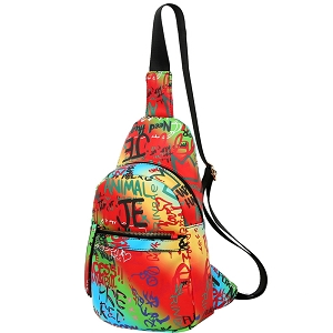 MCSF0083 Graffiti Effect Multi-Pocket Organizer Cross Body Sling Bag Multi-4 (Orange multi)