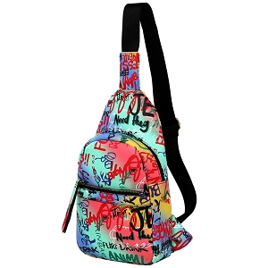 MCSF0083 Graffiti Effect Multi-Pocket Organizer Cross Body Sling Bag Multi-5 (Blue multi)