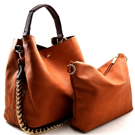 Q0004 (Q0004-3) Chain Accent 2 in 1 Hobo Brown