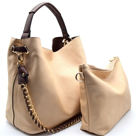 Q0004 (Q0004-3) Chain Accent 2 in 1 Hobo Beige