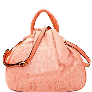 S0331 Laced 2 Way Dressy Satchel Pink