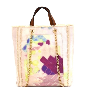 S0362 Vintage Frayed Canvas 2-Way Tall Tote Beige