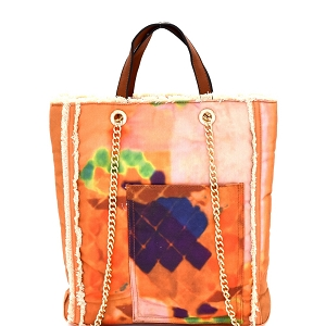 S0362 Vintage Frayed Canvas 2-Way Tall Tote Coral