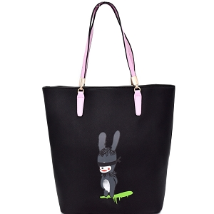 S0365 Rabbit Illustration Cute 2-Tone Tote Black
