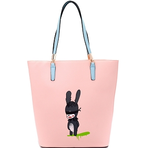 S0365 Rabbit Illustration Cute 2-Tone Tote Pink