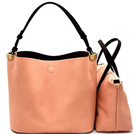 S0465 Hardware Accent 2 in 1 Hobo Peach