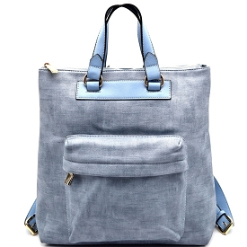 S0492 Textured Fashion Backpack Light-Denim