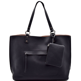 S0493 Textured Reversible Shopper Tote Black