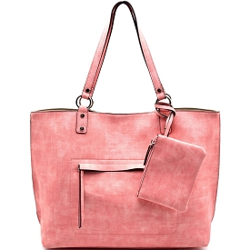 S0493 Textured Reversible Shopper Tote Pink