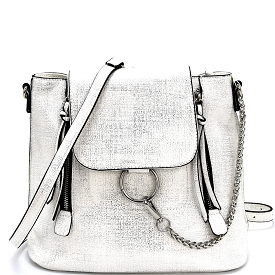 S0513 Ring and Chain Accent Convertible Backpack Silver