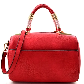 SJ0030 Rope & Chain Wrapped Handle Boston Satchel Red