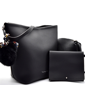 TWUN0009 Twenty Nine Pom Pom Accent 3 in 1 Shoulder Bag Black