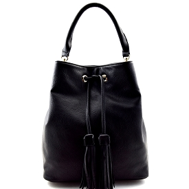 UN0053 Tassel Accent Drawstring Bucket Tote Black