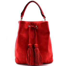 UN0053 Tassel Accent Drawstring Bucket Tote Salmon