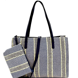 US0004 Multi-Color Printed Canvas 2-Way Large Tote Navy-Blue