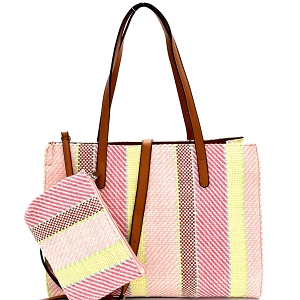 US0004 Multi-Color Printed Canvas 2-Way Large Tote Pink