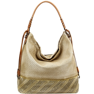 US0007 Metallic Laser-Cut Brush Painted 2-Way Woven Hobo Olive