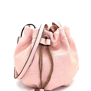 WE0023 Textured Metallic Touch Drawstring Bucket Bag Pink