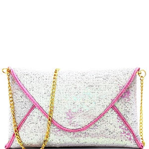 XS0002 Sequin Embellished Envelope Clutch Hologram