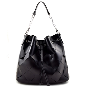 YB0010 Checker Pattern Laser-cut Drawstring Hobo Black