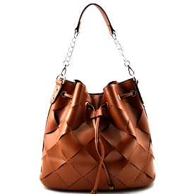 YB0010 Checker Pattern Laser-cut Drawstring Hobo Brown