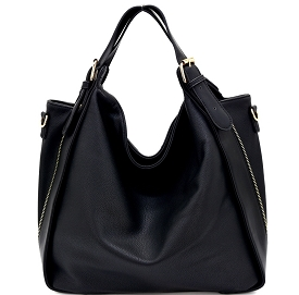 YB0024 Buckle Accent Convertible Hobo Black