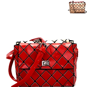 YX0007 Geometry Patchwork 2 in 1 Shoulder Bag Combo SET Red/Rose-Gold