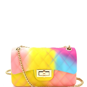 YXSF0015 Rainbow Matte Jelly Small 2 Way Shoulder Bag Multi-3
